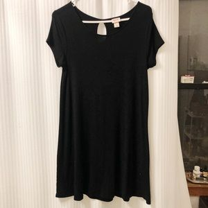 Stretchy black ribbed t-shirt dress